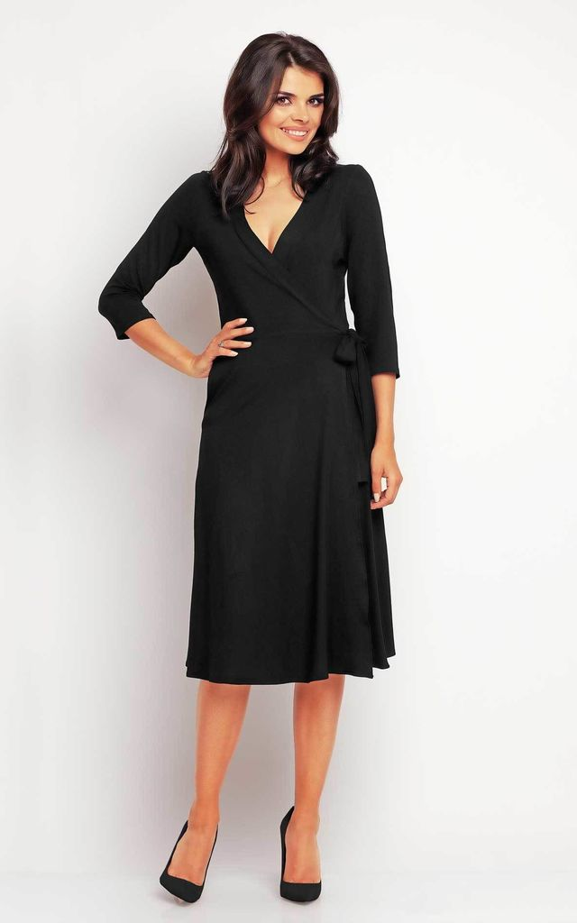 Black Midi Tie Wrap Dress by AWAMA