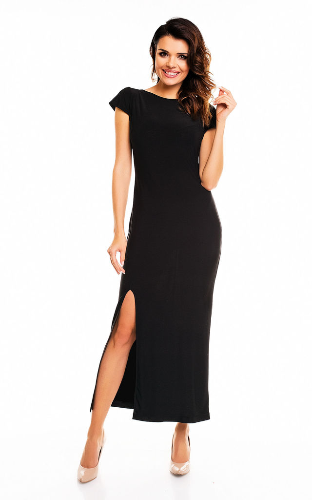 Black Maxi Backless Dress by AWAMA