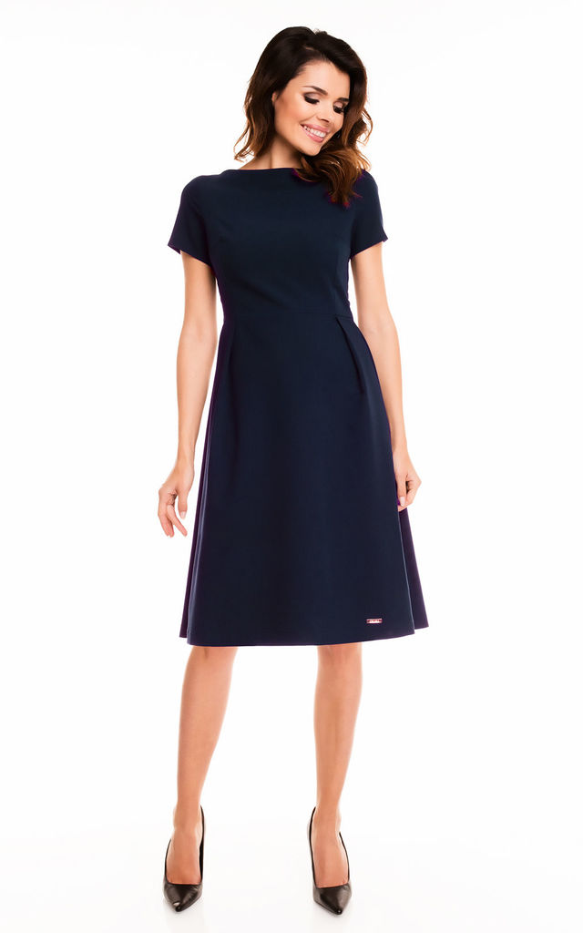 4fcff1939d5e Navy Blue Short Sleeve Flare Midi Dress by AWAMA