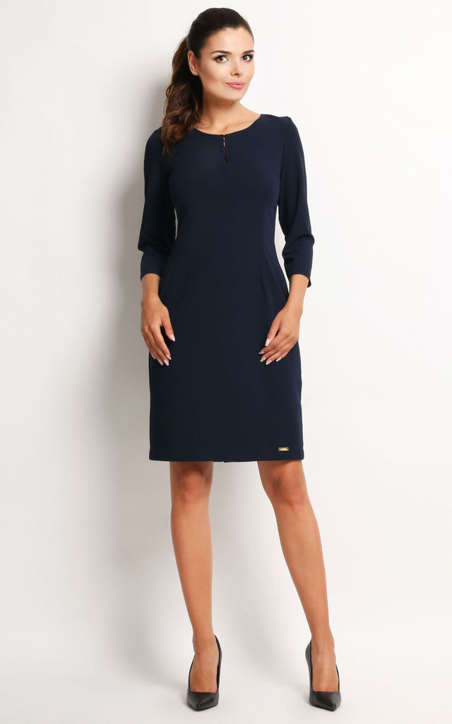 Navy Blue 3/4 Sleeve Midi Dress by AWAMA