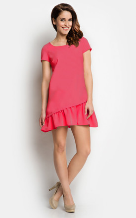 Red Dress with Asymmetric Frill End by AWAMA