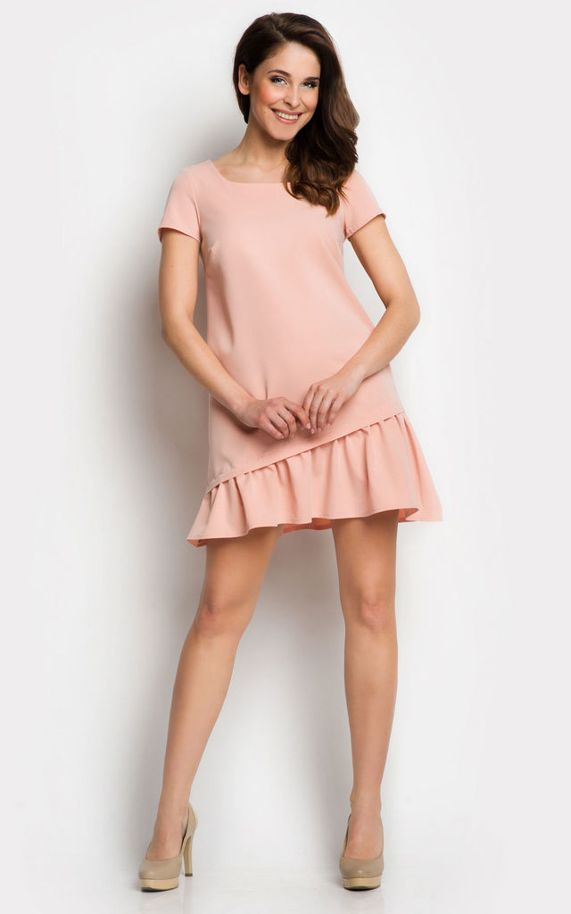 Pink Dress with Asymmetric Frill End by AWAMA