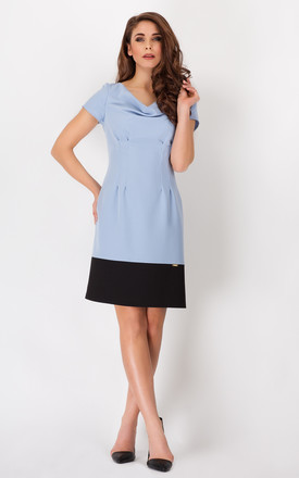 Blue Classic Dress With Boat Neck And Contrast Bottom by AWAMA
