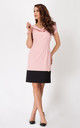 Pink Classic Dress With Boat Neck And Contrast Bottom by AWAMA