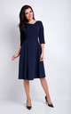 Navy Blue V-neck Elegant Midi Dress With 3/4 Sleeves by AWAMA