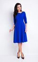 Blue V-neck Elegant Midi Dress With 3/4 Sleeves by AWAMA
