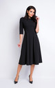 Black Elegant Midi Dress With 3/4 Sleeves by AWAMA