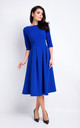Blue Elegant Midi Dress With 3/4 Sleeves by AWAMA