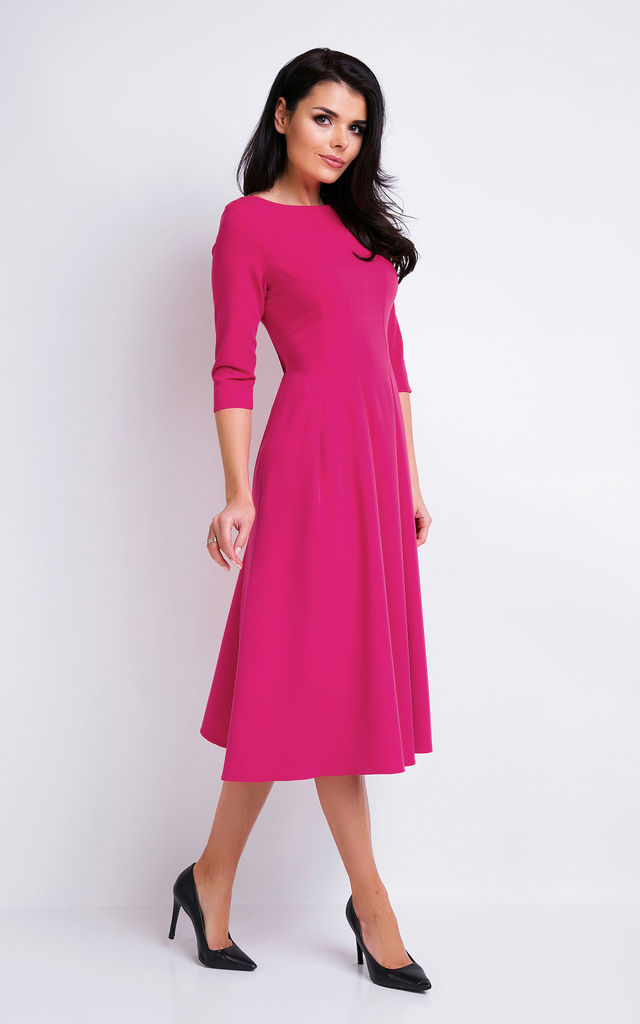 Pink Elegant Midi Dress With 3/4 Sleeves by AWAMA
