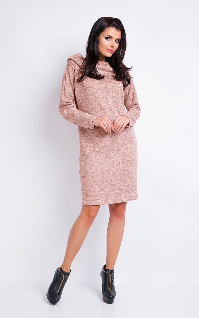 Pink Melange A-line Hoodie Dress With 7/8 Sleeves by AWAMA