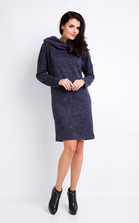 Navy Blue Melange A-line Hoodie Dress With 7/8 Sleeves by AWAMA