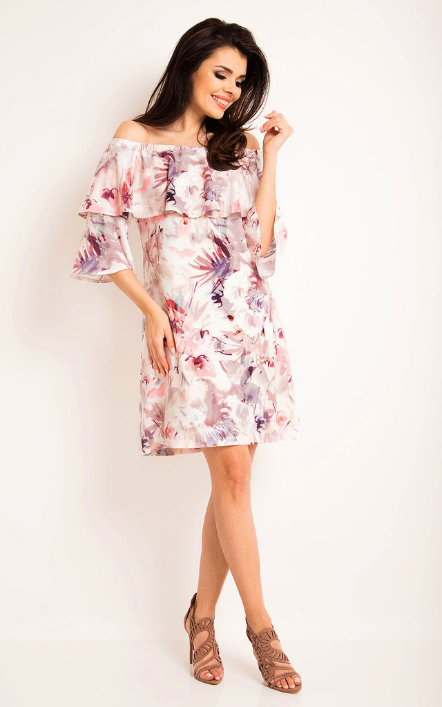 Dark Floral Pattern Off Shoulder Dress With Frill by AWAMA