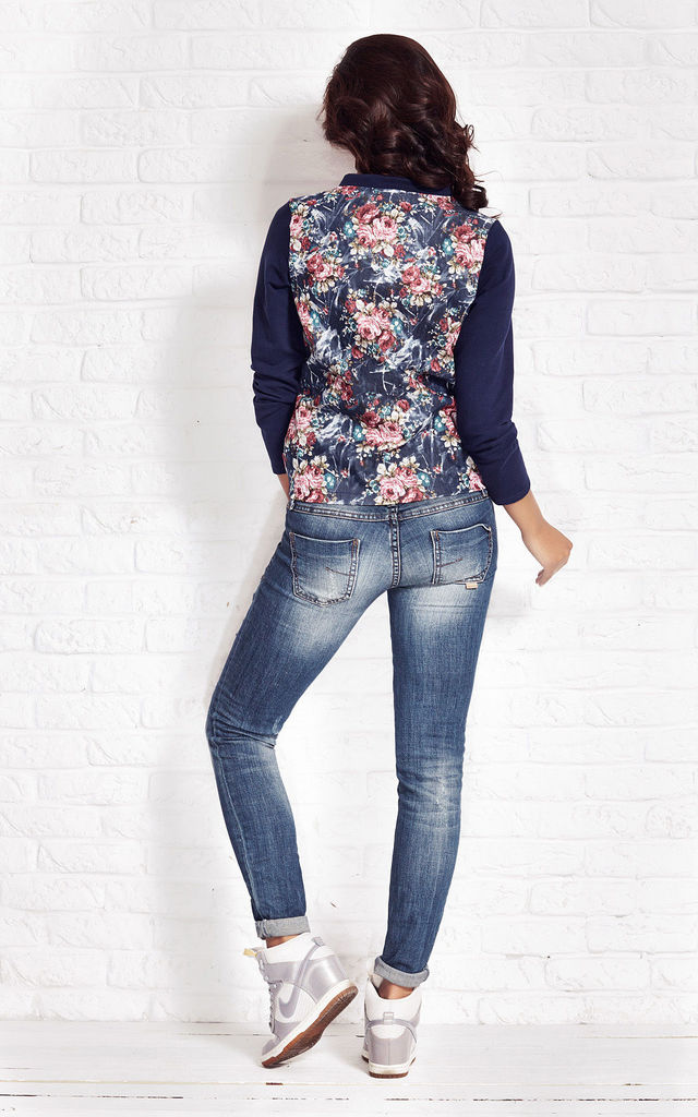Floral Zipped Pattern Jacket With Navy Sleeves by AWAMA