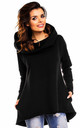 Black Long Back Oversized Hooded Jumper by AWAMA