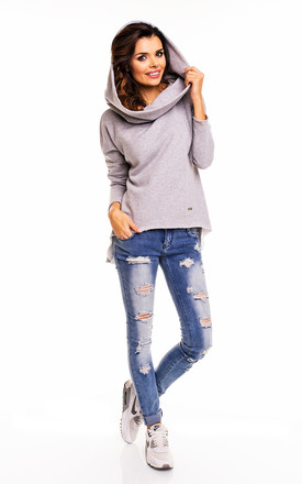 Grey Long Back Oversized Hooded Jumper by AWAMA