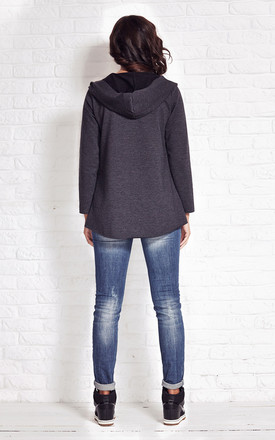 Dark Grey Loose Buttonless Hoodie Jacket by AWAMA