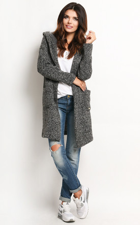 Grey Long Jacket With Hoodie by AWAMA