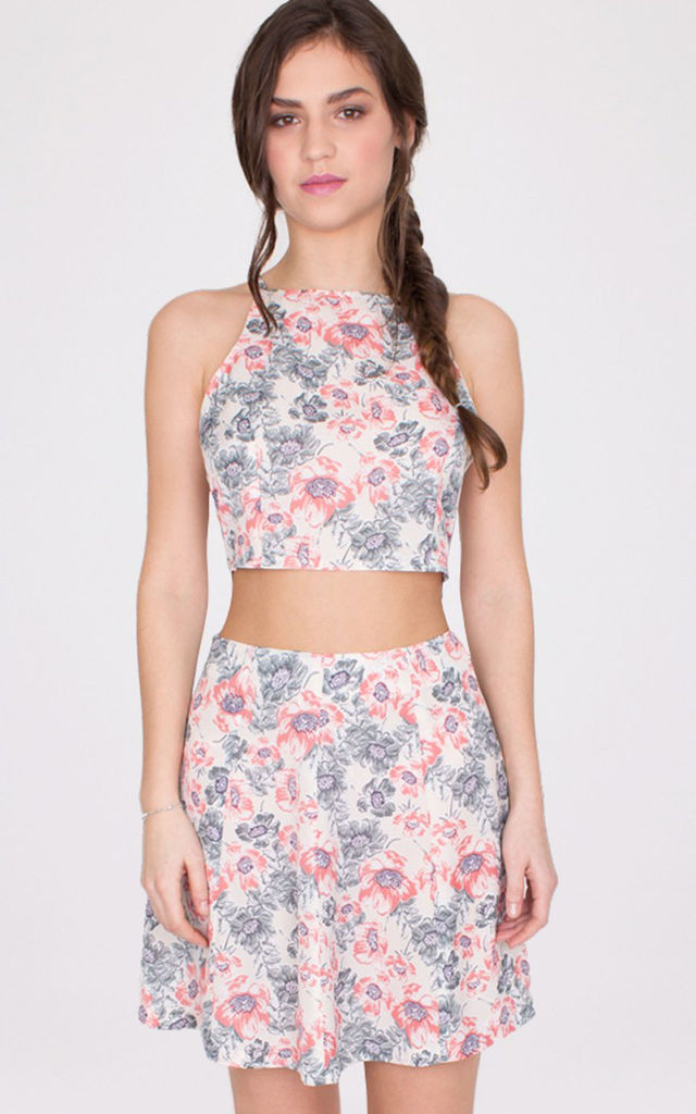 Pink Floral Print Flared Mini Skirt by MISSTRUTH
