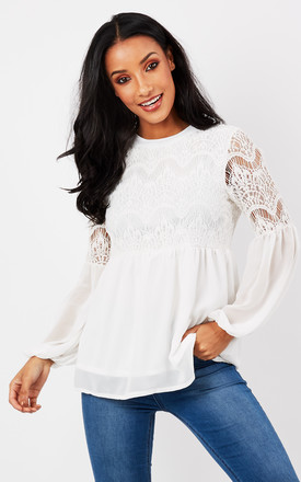 White Chiffon Lace Blouse by Madam Rage Product photo