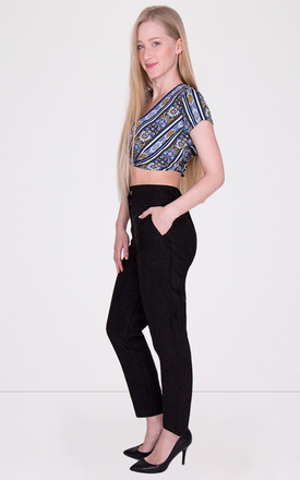 High Waist Cigarette Suede Black Trousers by MISSTRUTH