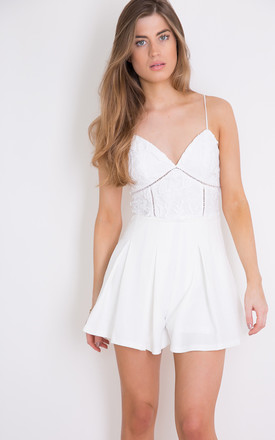 Tanya Crochet Lace Camisole Playsuit White by Girl In Mind