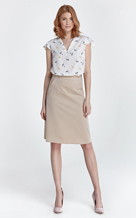 Trapezoid skirt - beige by Nife