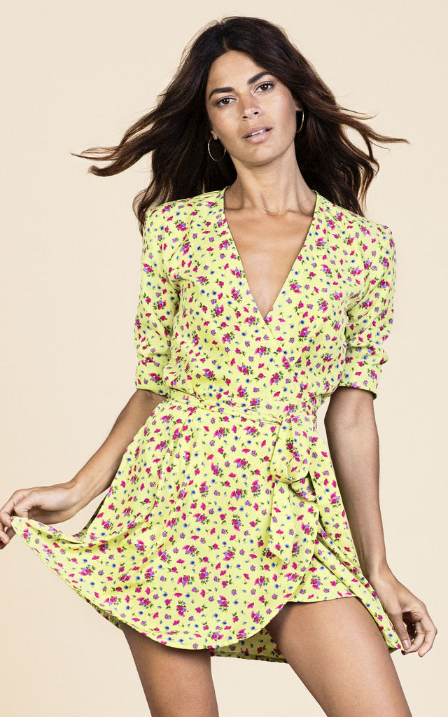 Zeina Mini Wrap Dress in Lime Ditzy image