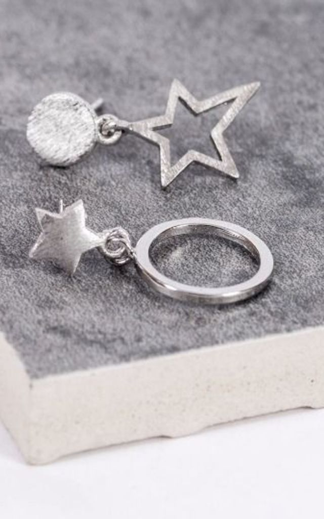 Sterling Silver Star and Full Moon Earrings by Collections by Hayley