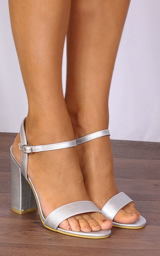 Silver Metallic Barely There Strappy Sandals Peep Toes High Heels by Shoe Closet