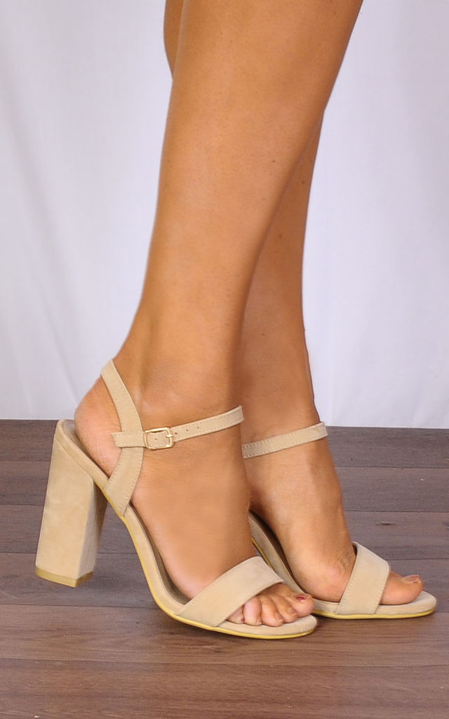 Nude Barely There Strappy Sandals Peep Toes High Heels by Shoe Closet
