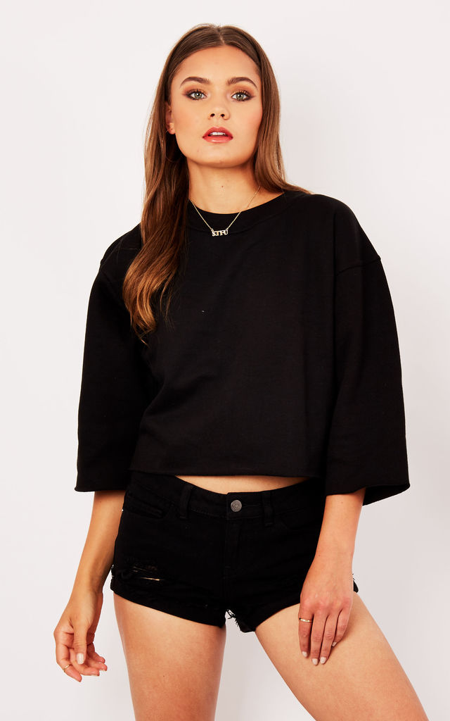 CROPPED BLACK SWEATSHIRT by Cats got the Cream