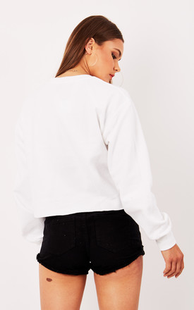 GIRL GANG CROPPED SWEATER-WHITE by Cats got the Cream