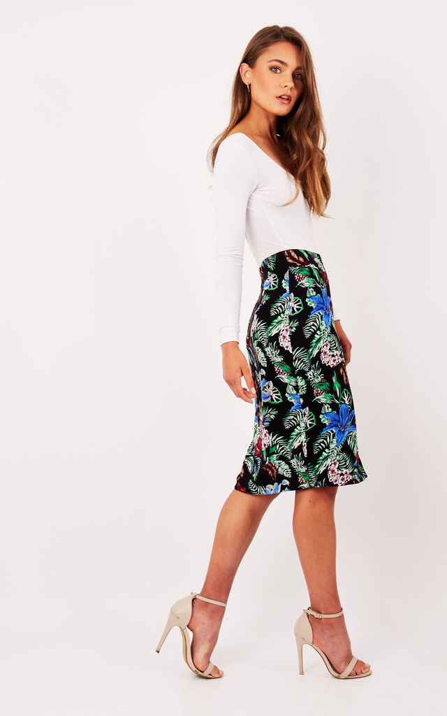 Black Tropical Floral Print Pencil Skirt by Ruby Rocks