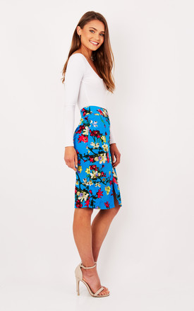 Blue Floral Front Split Pencil Skirt by Ruby Rocks