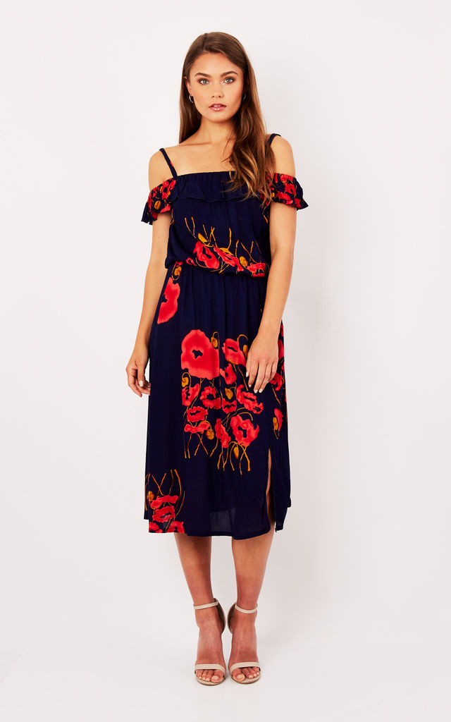 Bardot Frill Midi Dress Navy Poppy by Ruby Rocks