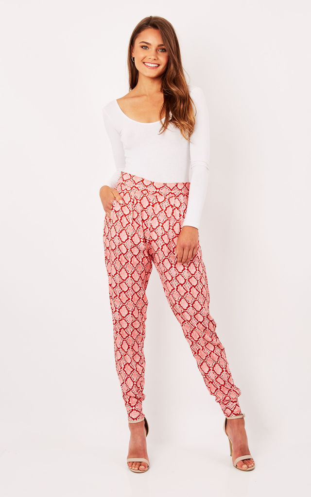 Pink Snake Print Cuffed Trousers by Ruby Rocks