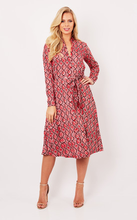 Red Snake Print Skater Shirt Dress by Ruby Rocks