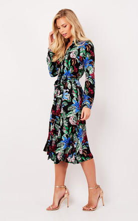 Black Tropical Floral Skater Shirt Dress by Ruby Rocks