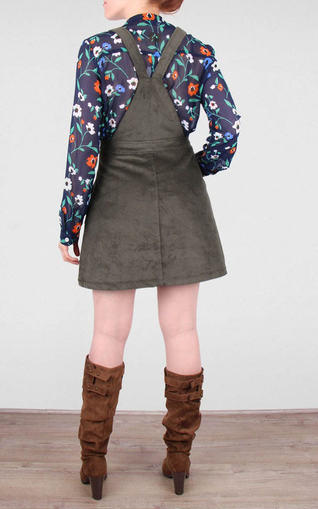 Corduroy Dungaree Pinafore Dress Khaki by Miss Truth