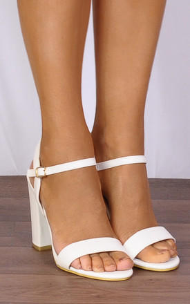 White Pu Barely There Strappy Sandals Peep Toes High Heels by Shoe Closet