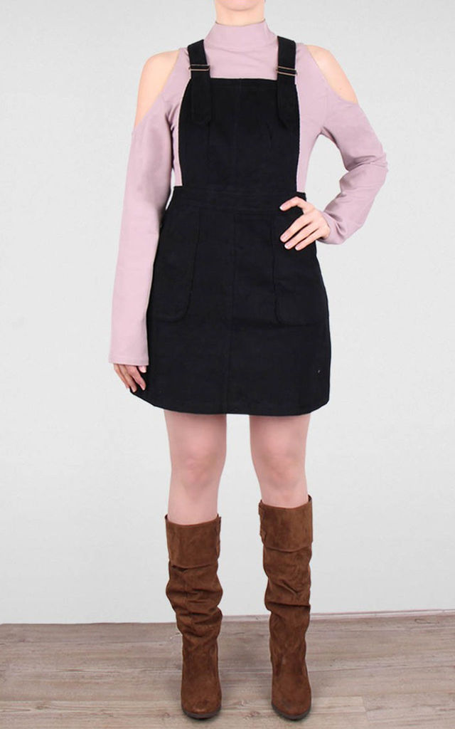 Corduroy Dungaree Pinafore Dress Black by Miss Truth