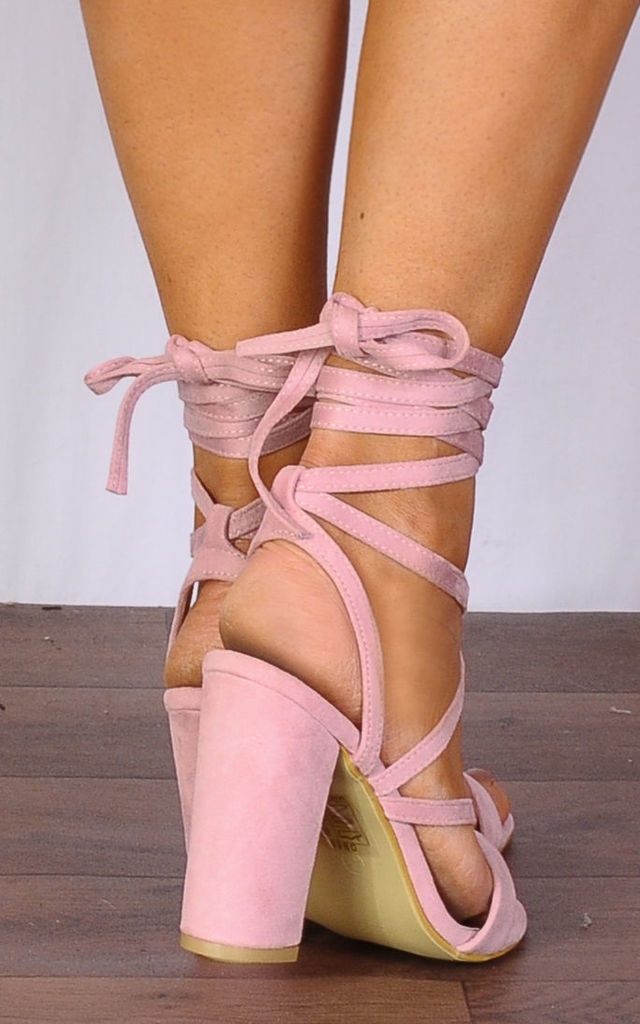 Baby Light Pink Lace Ups Wrap Round Strappy Sandals High Heels by Shoe Closet