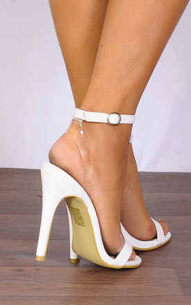 White Barely There Stilettos Peep Toes Strappy Sandals High Heels by Shoe Closet