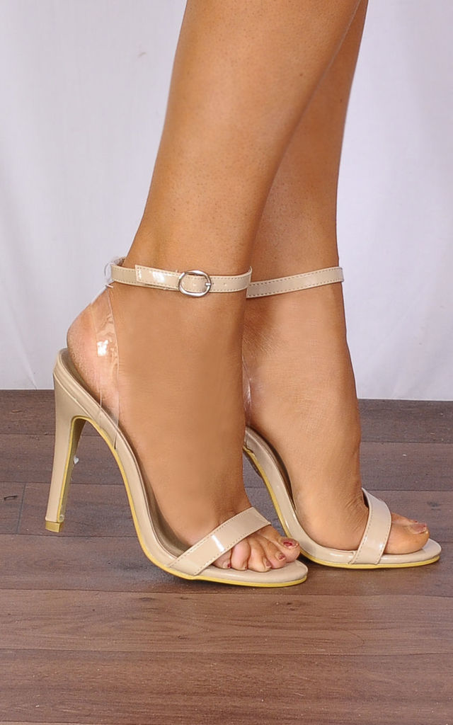 48bf235e543a Nude Patent Barely There Stilettos Peep Toes Strappy Sandals High Heels by  Shoe Closet