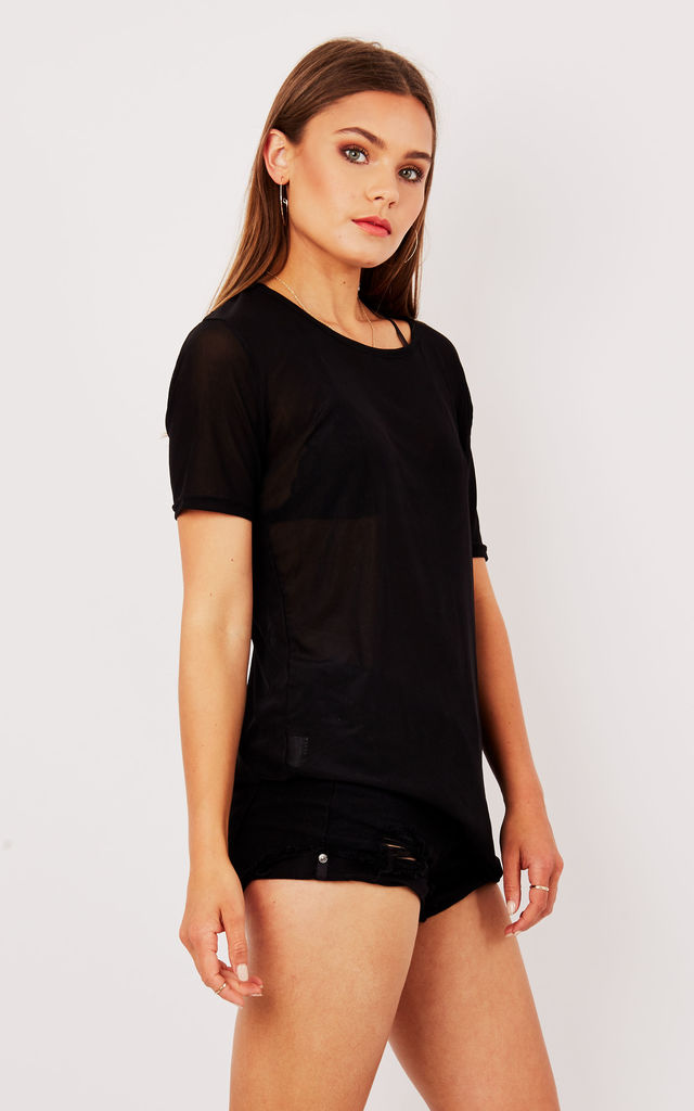 BLACK MESH CROP TOP by Cats got the Cream