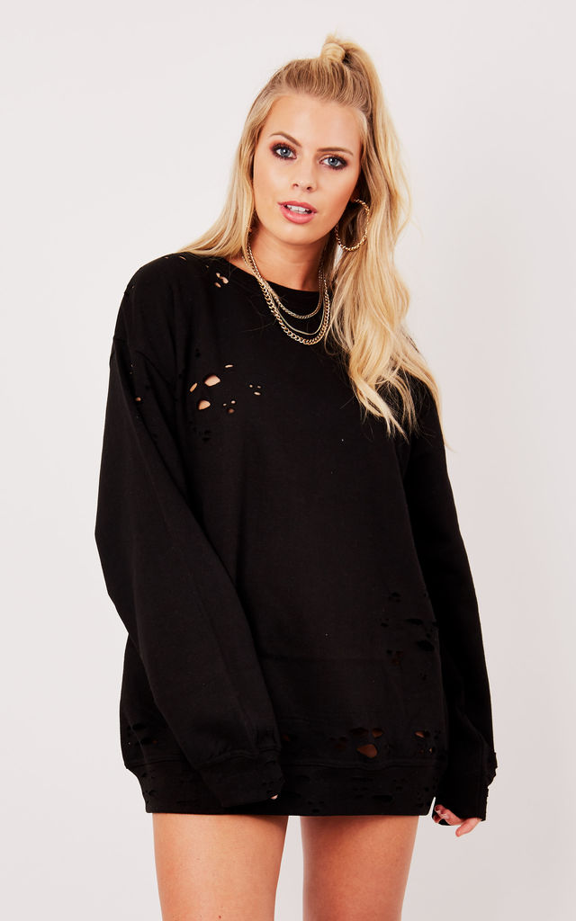 DISTRESSED BOYFRIEND SWEATER- BLACK by Cats got the Cream