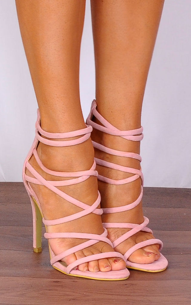 7017e75b7141 Baby Light Pink Strappy Sandals Stilettos High Heels by Shoe Closet