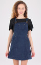 Navy Suede Dungaree Pinafore Dress by MISSTRUTH