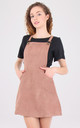 Tan Suede Dungaree Pinafore Dress by MISSTRUTH