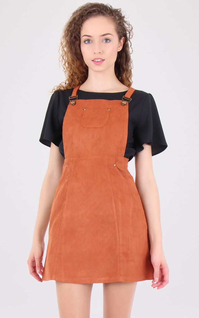 Rust Suede Dungaree Pinafore Dress by MISSTRUTH